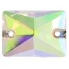 Crystal Sew-on Stone Rectangle 13x18mm (2pcs) Crystal Aurora Borealis